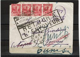 LCTN59/LE/PM - TUNISIE LETTRE TUNIS / NAPOLI JUILLET 1942 CENSURE ITALIENNE ET RETOUR ENVOYEUR - Covers & Documents