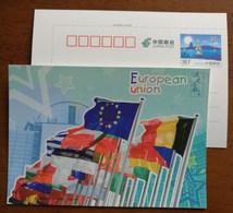 Flag Of European Union Members,Brussels EU Berlaymount Building,China 2016 G20 Hangzhou Summit Advert Pre-stamped Card - Flags
