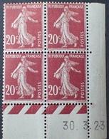 R1189/313 - 1923 - TYPE SEMEUSE - BLOC N°139 (III) TIMBRES NEUFS** CdF Daté - Coins Datés