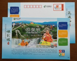 Rafting,Camping,Waterfall,China 2014 Chongqing Tourism Foyingxia Gorge Annual Ticket Advertising Pre-stamped Card - Holidays & Tourism