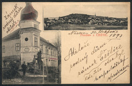 CZECHOSLOVAKIA: CESTICE: General View And Building, Circa 1893, VF Quality - Postkaarten