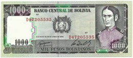 Bolivia - 1000 Pesos Bolivianos - D. 25.06.1982 - Unc. - Pick 167 -  Serie D ( 8 Digits ) 1 000 - Bolivia