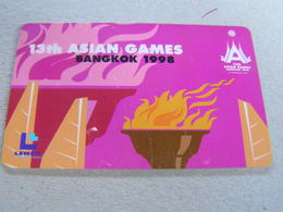 Thailand ,Lenso  500 Baht,used Chipcard  # 060    13th Asian Games Bangkok   Purple - Tailandia