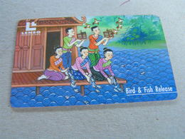 Thailand ,Lenso  500 Baht,used Chipcard  # 113  Bird & Fish Release - Thaïland