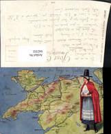 642332,Lagekarte Carnarvon Bangor Llandudno Frau Tracht Wales Great Britain - Ansichtskarten