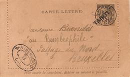 1893- Carte-Lettre E P 25 C Surcharge TAHITI Pour Bruxelles - Cachet De Transit De San Francisco - Tahiti (1882-1915)
