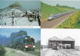 Trains, Tramways...Lot De 16 CPM - Cartes Postales