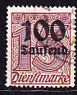 Deutsches Reich German Empire Empire Allemand - Dienstmarke/Service (Mi.Nr. 92) 1923 - Gest. Used Obl. - GEPRÜFT - Dienstzegels