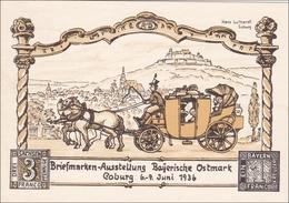 Ganzsache Briefmarkenausstellung Bayrische Ostmark 1936, Coburg - Alemania
