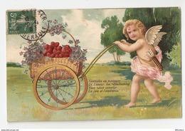Ange, Brouette De Fleurs. Lot De 2 Cartes Gaufrées (4308) - Angels