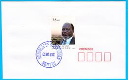 SOUTH SUDAN - Specimen Postmark BENTIU On Cover With 2011 3.5 SSP Dr John Garang Stamp #415 Südsudan Soudan Du Sud - Zuid-Soedan