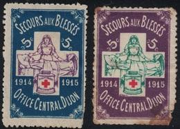 CROIX ROUGE - VIGNETTE - SECOURS AUX BLESSES - OFFICE CENTRAL DIJON - COTE D'OR - 1914-1915. - Erinnofilia