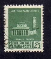 ITALIA REGNO ITALY KINGDOM REPUBBLICA SOCIALE ITALIANA RSI 1944 MONUMENTI DISTRUTTI CENT. 25c USATO USED OBLITERE' - Afgestempeld