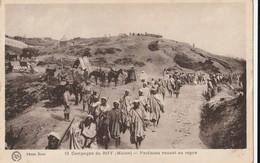 Carte Postale. Maroc. Guerre. Campagne Du Riff. Partisans Venant Au Repos. Manuscrite. - Patrióticos