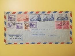 1950 BUSTA SPAGNA ESPANA BOLLO AIR MAIL JUAN DI LA CIERVA   ANNULLO BARCELONA OBLITERE' TIMBRO ESAGONALE - 1931-50 Storia Postale