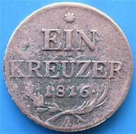 AUTRICHE, 1 Kreuzer 1816 A, Emblème De La Ville,  (Vienne), B+ - Austria