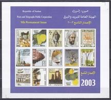 Sudan Soudan 2003 Tiere Animals Fische Fish Kamel Camel Früchte Fruits Bauwerke Buildings Fahnen Flags, Bl. 6 ** - Sudan (1954-...)