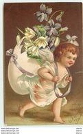 Carte Gaufrée - Ange Portant Sur Son Dos Un Oeuf Rempli De Fleurs - Anges