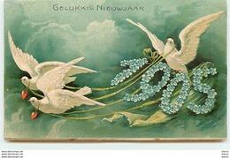 Carte Gaufrée - 1905 - Gelukkig Nieuwjaar - Colombes - Año Nuevo