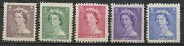 CANADA 1953  N° 260/264 ** * N° 264 * Trace De Charnière Neufs MNH 264 MH  TTB C 1,50 € Reine Elizabeth II - Unused Stamps