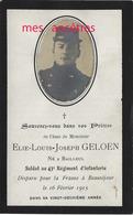 Guerre 1914-Faire-part De Décès Elie GELOEN Né Bailleul (59) 43e R Disparu à Beauséjour En 1915 - Avvisi Di Necrologio