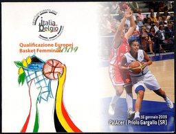 PALLACANESTRO - ITALIA PRIOLO 2009 - QUALIFICAZIONI EUROPEI FEMMINILI BASKET - FOLDER CON CARTOLINA UFFICIALE - 3 FOTO - Pallacanestro