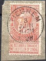 N° 57 Sur Fragment Oblitération TIEGHEM (COBA + 15 €) - 1893-1900 Schmaler Bart