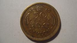 MONNAIE SRI LANKA 50 CENTS 1943 - Sri Lanka