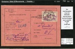 MAURY N°759 - VEZELAY  -  S/ACCUSE DE RECEPTION DU 28/6/1947 - DUREE 68 JOURS DANS CE TARIF - Marcophilie (Lettres)