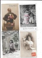 11279 - Lot 300 CPA Fantaisie, Hommes, Femmes Enfants, Couples, Quelques Fleurs, - Cartes Postales