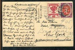 Deutsches Reich / 1920 / AK (Karlsruhe) Masch.-o Karlsruhe Nach New York, Nachsendung (1919) - Deutschland