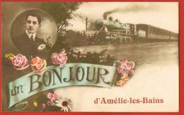 66- AMELIE-les-BAINS-  Cpa Un Bonjour D'Amélie Les Bains- Train - Scans Recto Verso- Paypal Sans Frais - Other Municipalities
