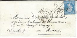 1865- Lettre De PARIS / R.DE LA HARPE Affr. N°22 Oblit. étoile 25 - 1849-1876: Période Classique