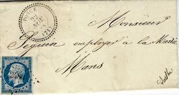 1858- Lettre De PONCE ( Sarthe ) Cad T22  Affr. N°14 Oblit/ P C 2486 - Marcofilia (sobres)