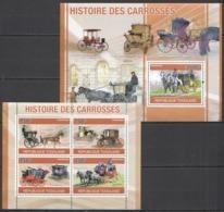 TG1263 2010 TOGO TRANSPORT HISTORY THE COACHES CARROSSES 1KB+1BL MNH - Diligences