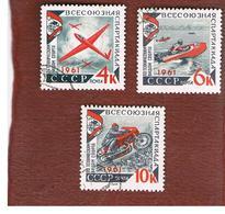 URSS  - SG 2602.2604  - 1961 SOVIET SPARTAKIAD   (COMPLET SET OF 3)  - USED ° - RIF. CP - 1923-1991 USSR