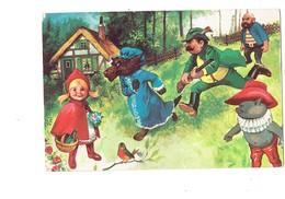 Cpm - Illustration LE PETIT CHAPERON ROUGE Fillette Loup Chasseur Fusil Chat Botté Bouteille Oiseau - Märchen, Sagen & Legenden