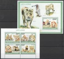 TG1287 2010 TOGO TOGOLAISE FAUNA ANIMALS LES LIONS 1KB+1BL MNH - Felinos