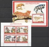 TG1289 2010 TOGO TOGOLAISE FAUNA ANIMALS LES PREDATEURS 1KB+1BL MNH - Felinos