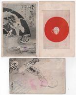 Lot De 3 Cartes Année Du Rat Zodiaque Japan Envoyées à Hong Kong China - Otros