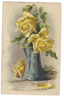 Cpa Carte Fantaisie Vase Fleurs Des Roses Jaunes Illustrateur Klein Catharina - Klein, Catharina