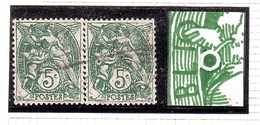 Variété ANNEAU LUNE Type Blanc 5c Tàn - Varieties: 1900-20 Used