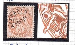 Variété ANNEAU LUNE Type Blanc 3c PRÉO Rouge - Variétés: 1900-20 Oblitérés