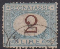 Italy PD 12  1870 Postage Due,2 Lire Blue And Brown, Used, Damaged - 1861-78 Vittorio Emanuele II