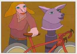 Cpm 1741/459 ERGON - Femme à La Bicyclette  - Vélo - Cyclisme - Bicycle - Cycle - Bête - Illustrateurs - Illustrateur - Ergon