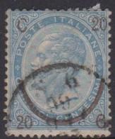 Italy S 25 1865 King Victor Emmanuel II, Surcharged 20c On 15c  Blue 3rd Type, Used - 1861-78 Victor Emmanuel II.