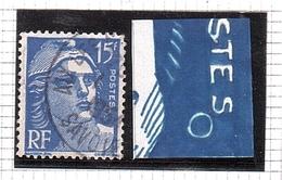 Marianne GANDON Variété ANNEAU LUNE 15frs Bleu N° 886 - 1945-54 Marianne De Gandon