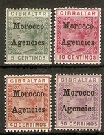 MOROCCO AGENCIES 1899 5c, 10c, 40c, 50c SG 9, 10, 13, 14 MOUNTED MINT Cat £76 - Bureaux Au Maroc / Tanger (...-1958)