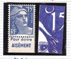 Marianne GANDON Variété ANNEAU LUNE + PUB 15frs Bleu N° 886 ** (T.II) - 1945-54 Marianne De Gandon