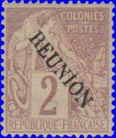 Réunion 1891. ~  YT 18* - 2 C. Alphée Dubois - Réunion (1852-1975)